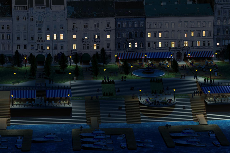 A kikötő promenád éjszakai élete
