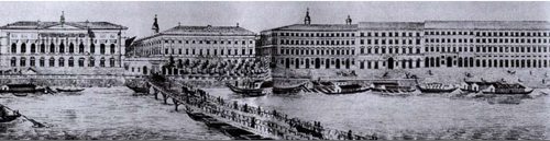 A pontonhíd a XIX. sz. közepén. A későbbi Vigadó helyén még a Redout áll