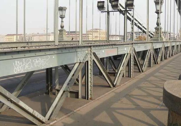 SzeBu Mikulások takarítjál le a falfirkákat a Lánchídról